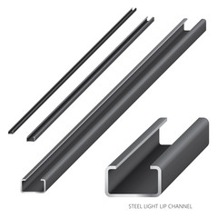 Vector illustration of steel construction isolated (Steel Light Lip Channel) on white background.