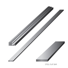 Vector illustration of steel construction isolated (Steel Flat Bar) on white background.