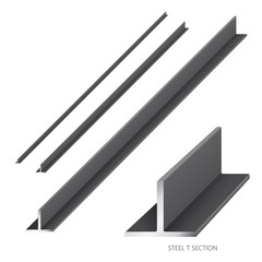 Vector illustration of steel construction isolated (Steel T Section) on white background.