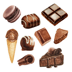 Watercolor chocolate delicious set