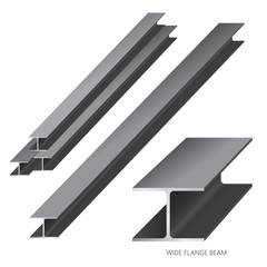 Vector illustration of steel construction isolated (Wide Flange Beam)on white background.