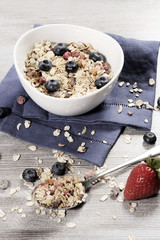 diet weight loss breakfast, healthy food with muesli , strawberry and blueberry