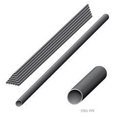 Vector illustration of steel construction isolated (Steel Pipe) on white background.