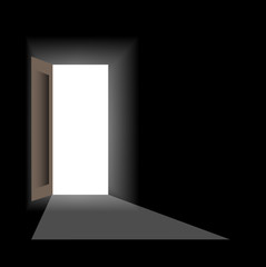 Open door in dark room. Vector illustration