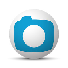Blue Camera icon on sphere on white background