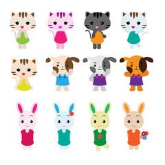 Cute pet vector set