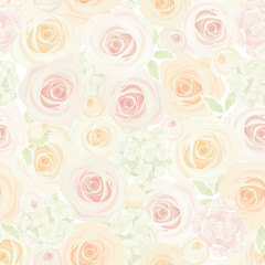 Vector seamless pastel pattern with colorful roses and hydrangea flowers.