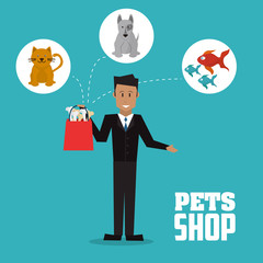 Pet shop with dog, cat, fish and man design, Vector illustration