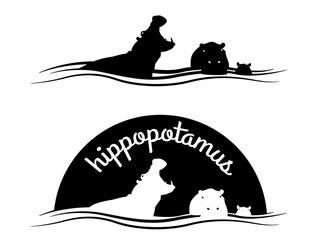 Animal of wildlife ( Hippo ) silhouette vector black white design