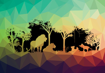 animal of wildlife Lion low poly shadow vector design