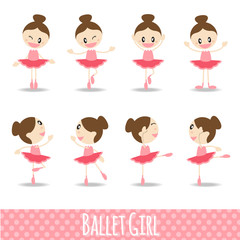 8 action pink cute girl ballet cartoon vector design