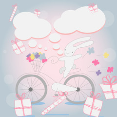 Funny little white Bunny Bicycle