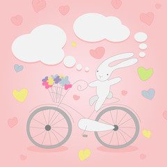 Funny little white Bunny on Bicycle