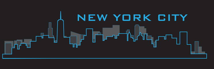 Outline of New York City skyline. Vector illustration eps 10.