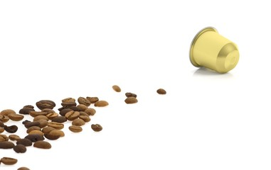 Golden coffee capsule and coffee beans, isolated on white background.
