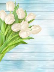 Fresh white tulips on wood planks. EPS 10