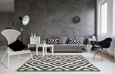 Minimalistic living room in grey