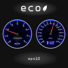 Abstract car speedometer and tachometer on black background