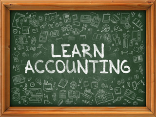 Learn Accounting - Hand Drawn on Chalkboard. Learn Accounting with Doodle Icons Around.