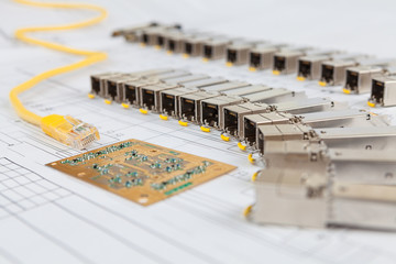 SFP network modules for network switch, patch cord and chip