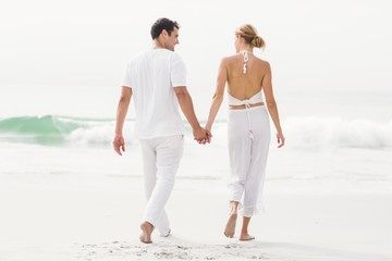 Rear view of couple walking on the beach