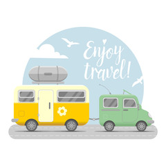 Vector caravan trailer end car illustration