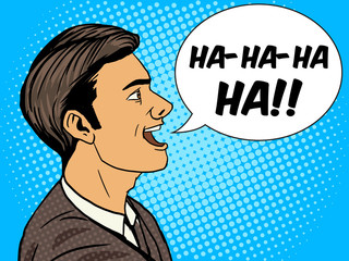 Laughing man pop art style vector