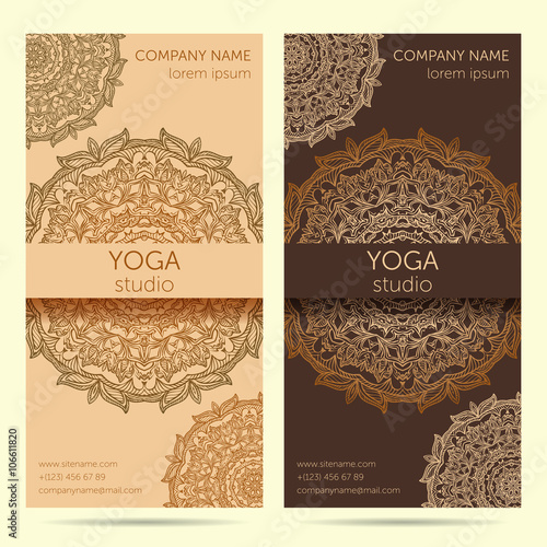 Design template for yoga studio with mandala ornament background design template for yoga studio with mandala ornament background design concept for brochure card stopboris Image collections