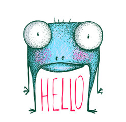 Monster with greeting text hello