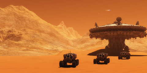 Mars Outpost - A spacecraft takes off from Mars to return to Earth as all-terrain vehicles embark on an exploratory mission.