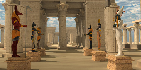 Temple of Ancient Pharaohs - A pharaoh's temple to worship Egyptian gods Seth, Ra, Anubis, Hathor, Osiris, and Bast.