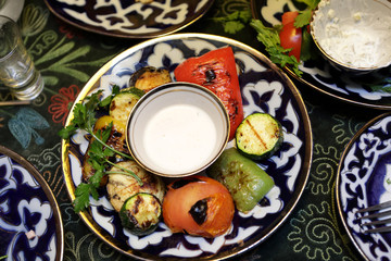 Plate with grilled vegetable