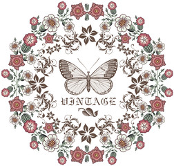 Butterfly. Flowers. Beautiful vintage frame. Greeting card. Border. Drawing, engraving. Vector illustration.