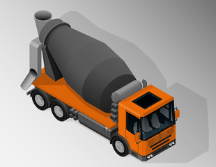 Vector isometric illustration of mixer truck. Equipment for the construction industry.