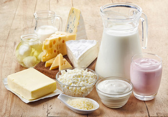 Photo sur Toile Produit laitier Various fresh dairy products