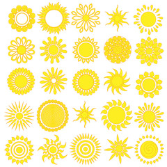 Hand drawn doodle suns.