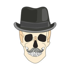 Skull in black hat with a mustache. illustration vector