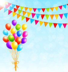 Greeting card with colorful balloons and flags