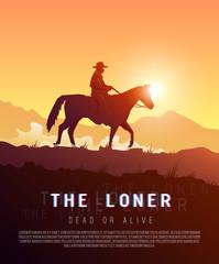 Vector poster wild West. Loner.