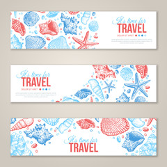 Summer Sea Shells Horizontal Banner Design