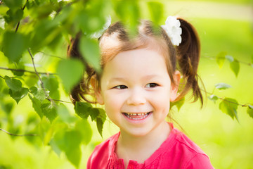 Close up of face of child playing hide and seek outdoors in park. Beautiful little girl hiding behind huge tree on summer or spring sunny day. Small kid standing near tree at green nature background.