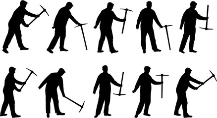 Man with pick mattock vector silhouette