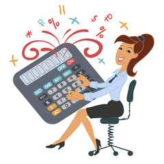 Funny girl playing calculator. Accountant, manager. Calculations, numbers, counting. Fountain of numbers and characters
