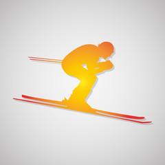 skier icon with shadow