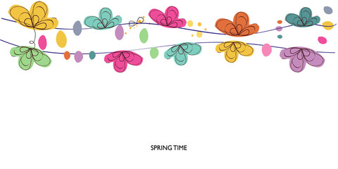 Colorful spring time decorative floral abstract border vector background