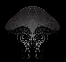 Silver jellyfish illustration