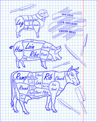 butchering beef diagram, pork, lamb and knife
