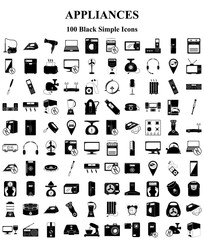 Appliances 100 icons set for web and mobile