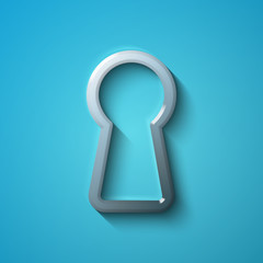 Protection concept: flat metallic Keyhole icon, vector