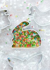 Easter cooking concept: metal molds rabbit bunny for traditional